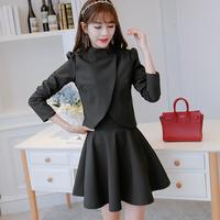 2017 New Fashion Women Dress Suit Spring Autumn Two Piece Dress Full Cape Above Knee Ruffles