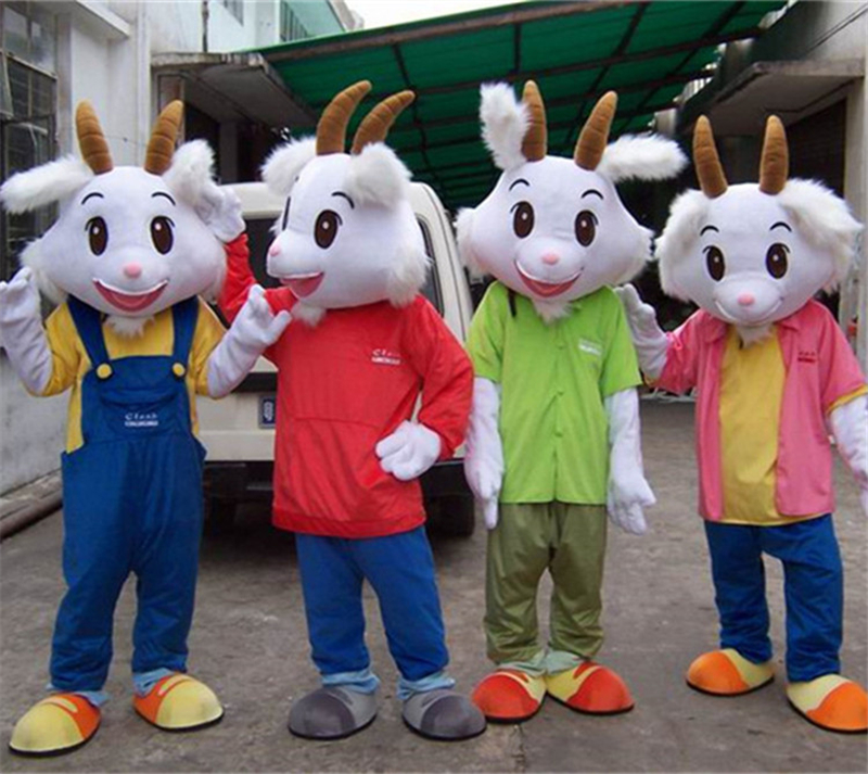 Goat Mascot Costume White Sheep Mascot Costume Fancy Dress Outfit Halloween Cosplay Costume