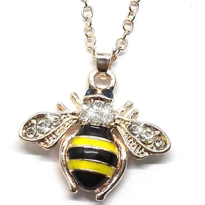 New 2017 Lovely Yellow Black Bee Animal Pendants Necklace for Women Cute Lovers Crystal Jewelry Gifts
