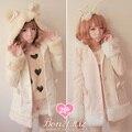 Princesa casaco lolita doce Bobon21 arco de pelúcia suportar difusa de lã casaco outerwear inverno chapéu orelha com arco casaco rosa c0932