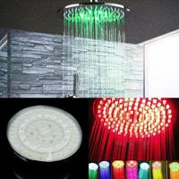 1PCS 7 Colors Change Round 8''ABS Rainfall Top Water Saving Shower Head Ceiling Sprayers Powered Rain Shower Room Bathroom