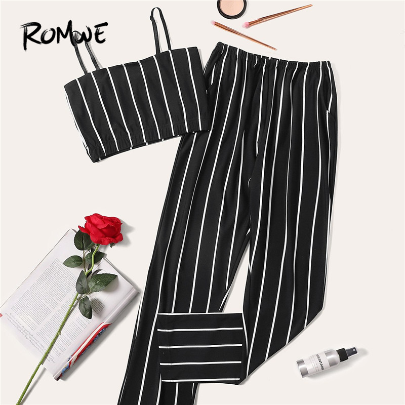 ROMWE Black and White Striped Cami Top With Long Pants Women PJ   Set   Summer Camisole Sleepwear   Pajamas     Sets   Night Wear Suits