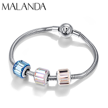 Crystal From Swarovski Double Sided Striking Geometric Beads Custom Charm Bracelet Bangle For Women Wedding Jewelry Gift