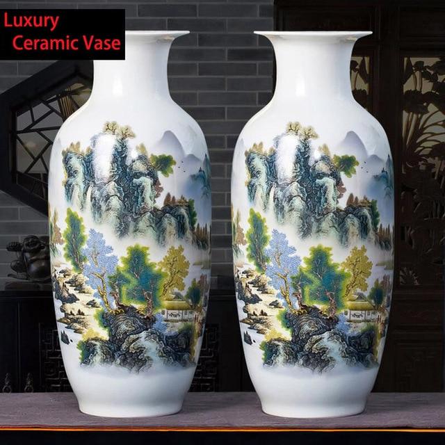 vase grande taille Grande Taille Jingdezhen Chinois Céramique Vase Décoration Artisanat Maison  Salon Porcelaine Arrangement De Fleurs Paysage Vase
