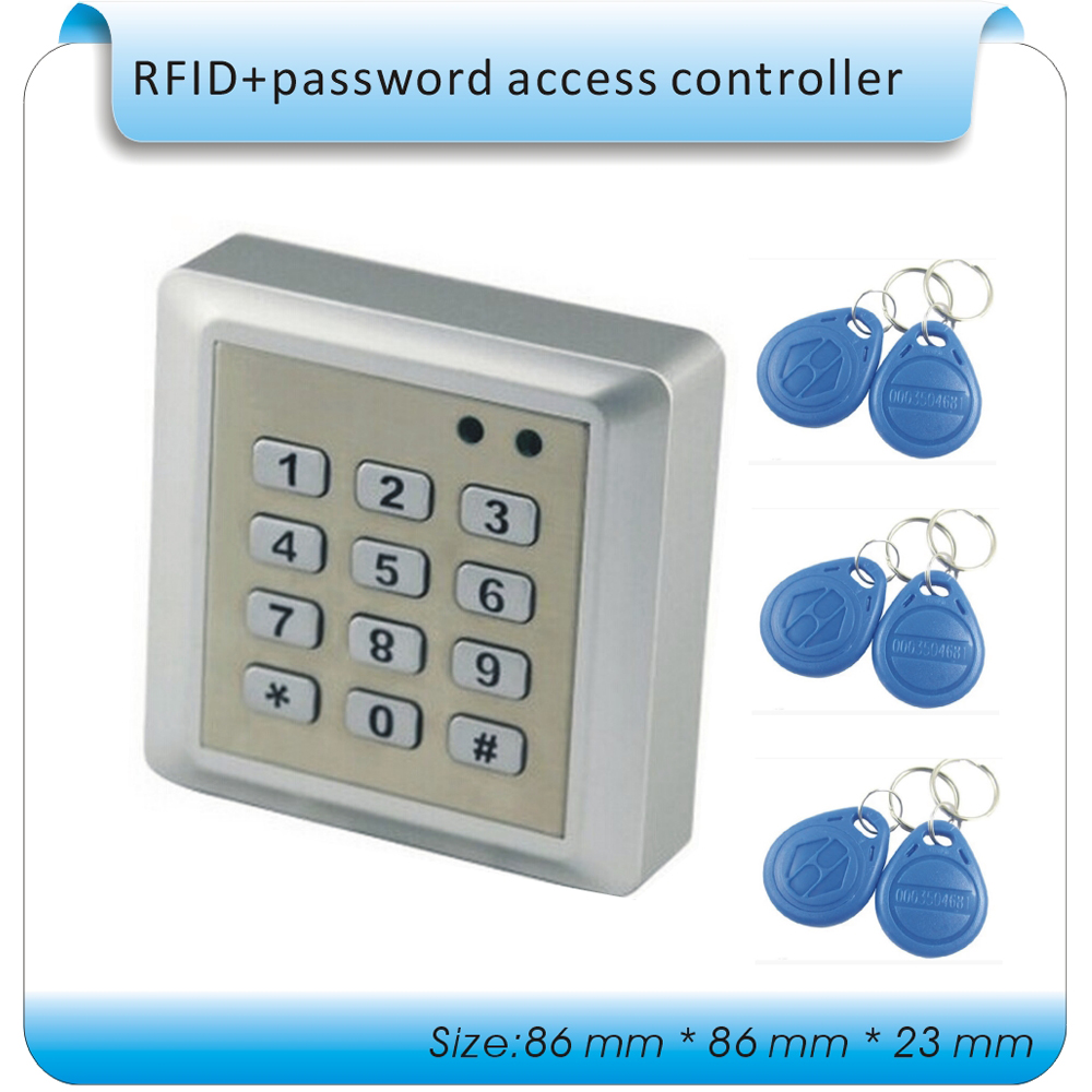 Free shipping 125KHZ Id card +password access control machine/ waterproof access control +10pcs RFID keys free shipping 10pcs mc88921