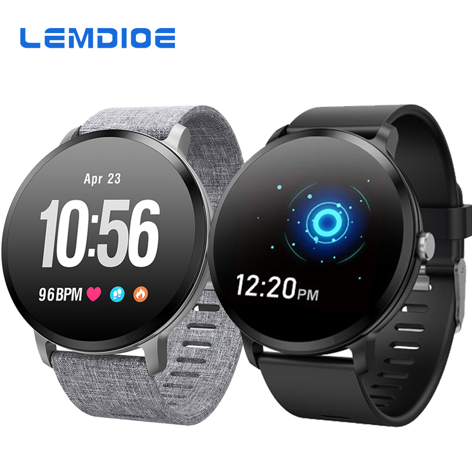 LEMDIOE V11 Smartwatch Men Women 1.3 Inch Tempered Glass Screen IP67 Waterproof Blood Pressure Heart Rate Monitor Smart Watch colmi v11 smart watch ip67 waterproof tempered glass activity fitness tracker heart rate monitor brim men women smartwatch