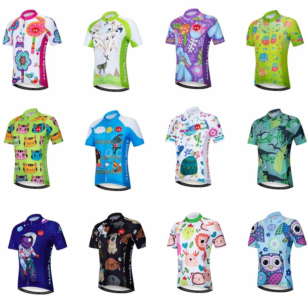 Kids Cycling Jerseys Set Cartoon Short Sleeve Bike Top for Boy Girl MTB XR2004