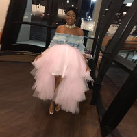 2019 Fashion Baby Pink High Low Tiered Tulle Skirts Ruffles Elastic Tutu Skirt Bridal Bridesmaid Tulle Skirt Custom Made