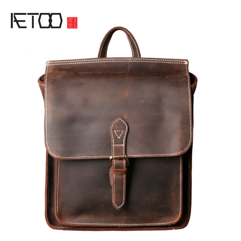 AETOO Crazy horse leather head layer of leather trumpet shoulder bag male leather backpack female retro leisure tide shoulder Me aetoo leather mini shoulder bag female small backpack head layer of leather casual 2017 new korean version of the wild tide pack