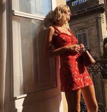 FREE SHIPPING Floral Print Mini Short Red Dress JKP1055