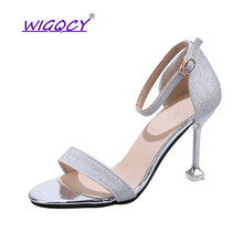 Sequined Cloth Open toe Thin Heel sandals women Summer shoes women Sexy High heel Bling Party Buckle Strap Glitter female shoes