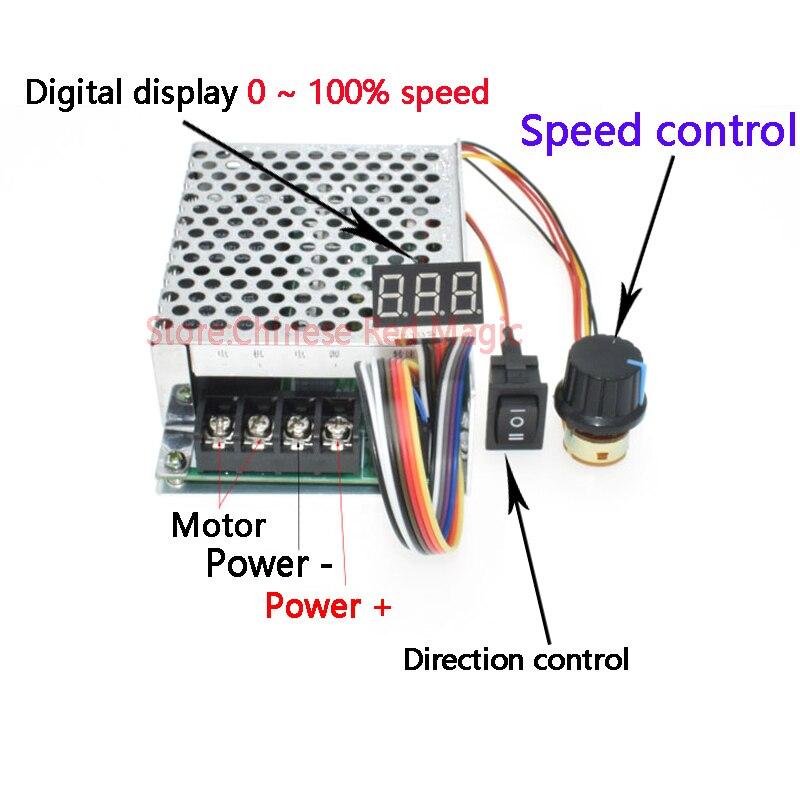 2000W High Power 40A  DC Motor Controller DC 10V 12V 24V 36V 48V 55V Motor Drive Speed Adjustment/Dimming /Power Regulation