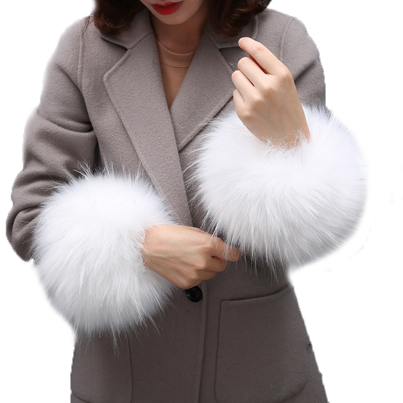 Super Huge Faux Raccoon Fur Huff Fake Fur Wrist Warmer Cute Coat Sleeve Fur Decor Scarves Collar Creative Hand Warmer