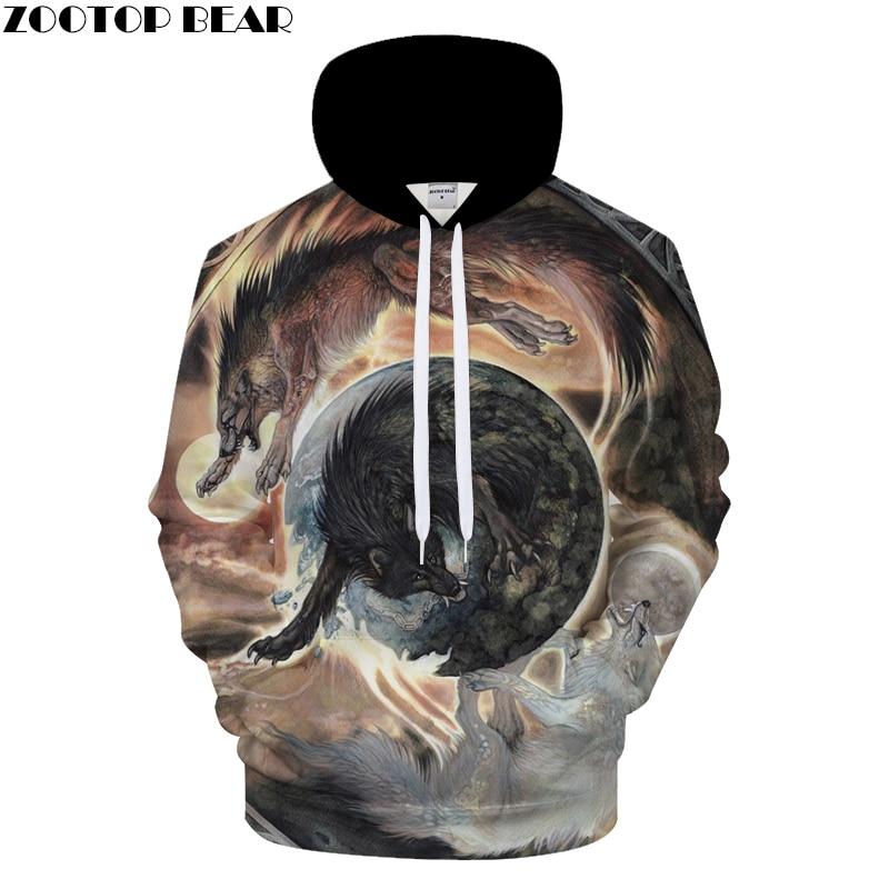 Animal Hoodies Wolf Sweatshirt Men Funny Hoody 3D Tracksuit Streatwear Coat 6XL Pullover Hoodie Print Drop Ship ZOOTOP BEAR