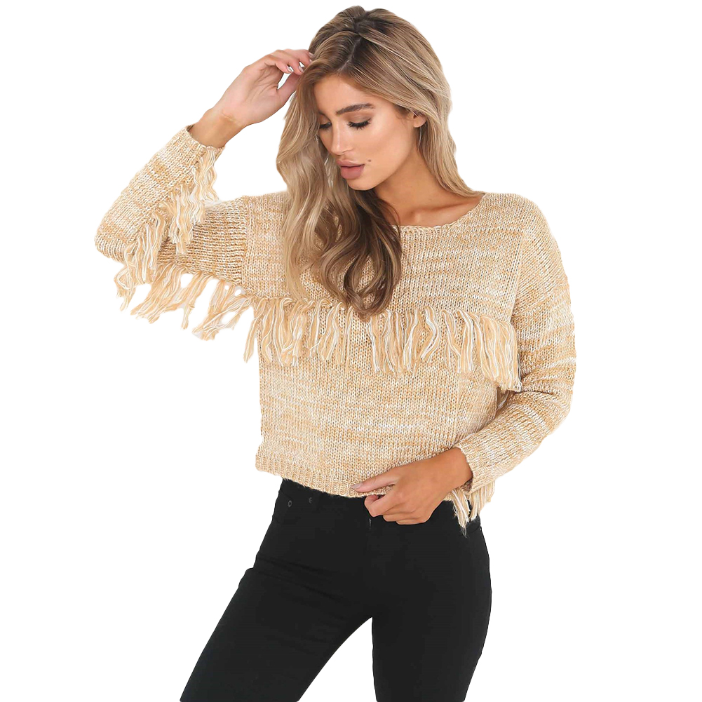 Fashion Solid Color Loose Women Tassel Sweater All-Match Bottoming Knitwear