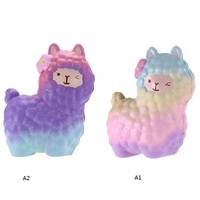 Jumbo Squishies Rainbow Alpaca Slow Rising Collection Gift Decor Stress Release Toy Kids Cartoon Sheep Christmas