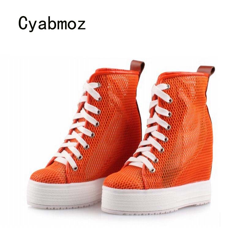Cyabmoz Fashion Women Platform Lace up Wedges High heels Height increasing Breathable High top Ankle Boots Mesh Ladies Shoes fashion women elevator candy color breathable canvas high platform denim lace up casual shoes height increasing wedges shoes
