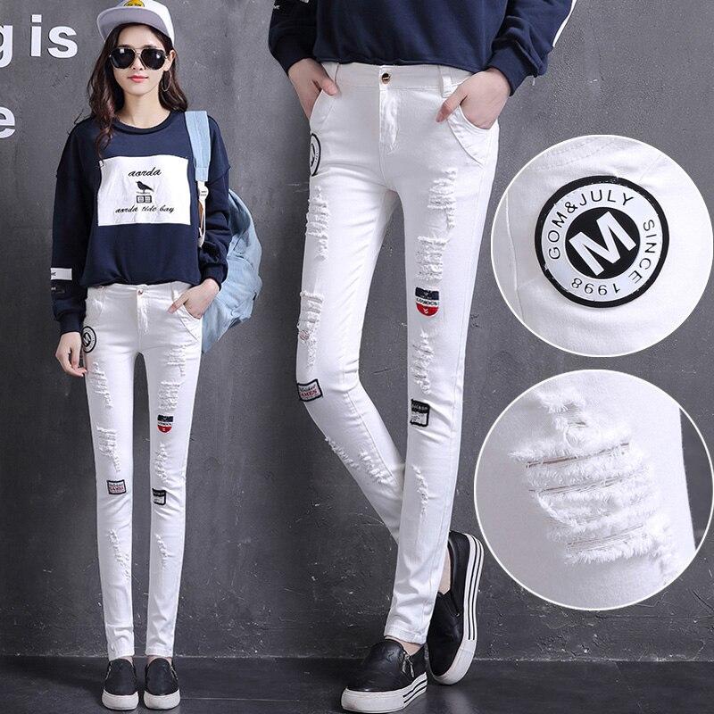 2017 New Spring Women Jeans Fashion Hole skinny pencil Jeans Pants Women Vintage Jeans Patchwork Cross Denim Trousers Slim Jeans