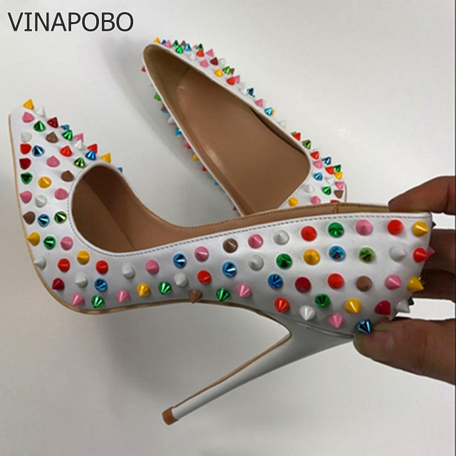 VINAPOBO Fashion Women Dress Shoes Colorful Rivets High Heel Shoes 12cm White Patent Leather Wedding Shoes
