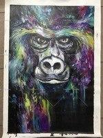 Decorative Art Handmade Monkey Oil Painting On Canvas Living Room Home Decor Wall Paintings Thinking Orangutan