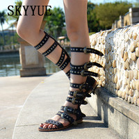 2018 New Genuine Leather Punk Metal Sequined Women Sandal Boots Sexy Open Toe Women Sandal Flats Gladiator Shoes Women