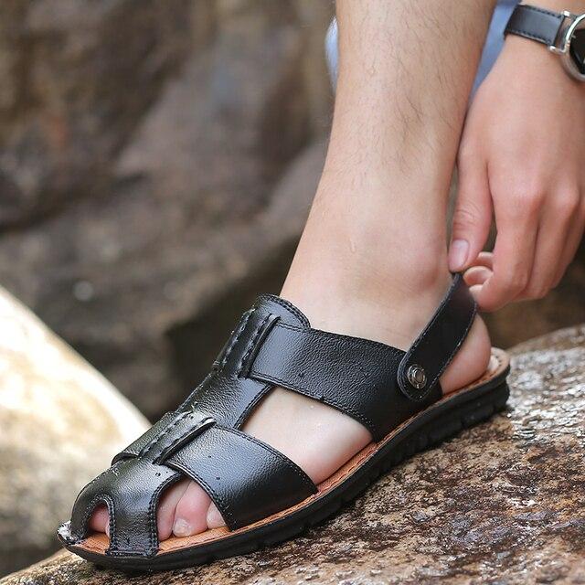 Yomior Men Sandals Summer Men Black Fashion Casual Beach Sandals Genuine Leather High Quality Flats Shoes Sandalias Big Size Sandals