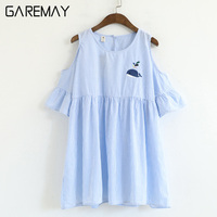Striped Shirt Blouse Women Summer Top Whale Embroidery Blusas Mujer Verano Strapless O Neck Short Sleeve