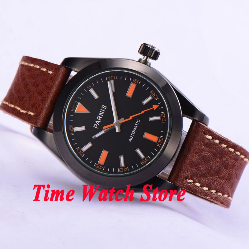 Parnis 40mm black dial luminous PVD case sapphire glass MIYOTA Automatic men's watch 264 relogio masculino цена