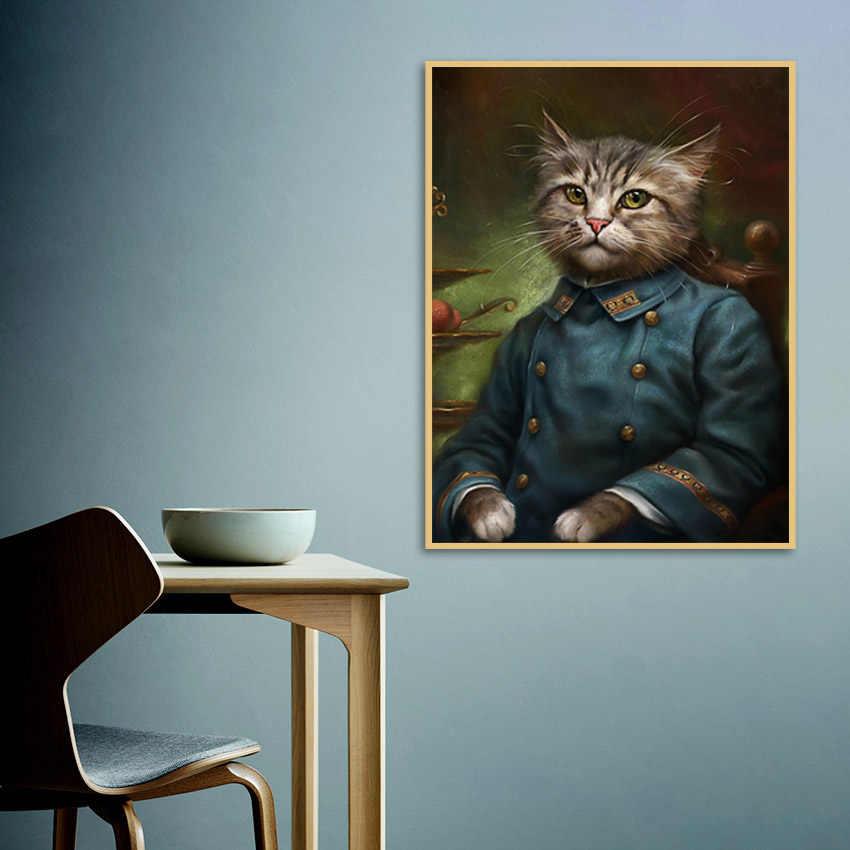 Винтажный стиль украшение дома картина с рисунком животных Cardinal Cat плакаты-портреты Hd Печать скандинавские настенные картины для спальни