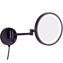 GURUN Hotel Bathroom 10X Magnification Vanity Lighted Makeup Mirror Shaving, Wall Mount Round Mirrors with 7X/5X/3x Magnifying