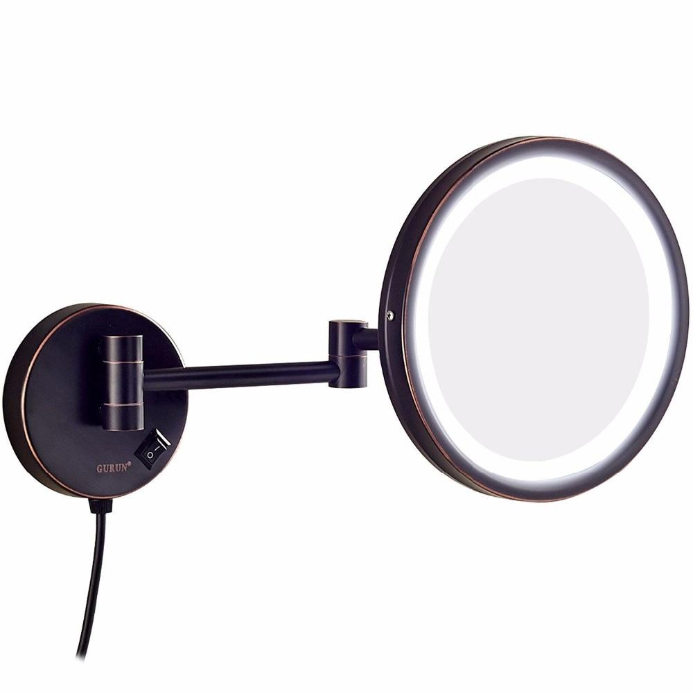 Gulun отель ванная комната настенное крепление 10x увеличительное освещенное зеркало для макияжа бритье, масло втирают бронзовые зеркала с уве...