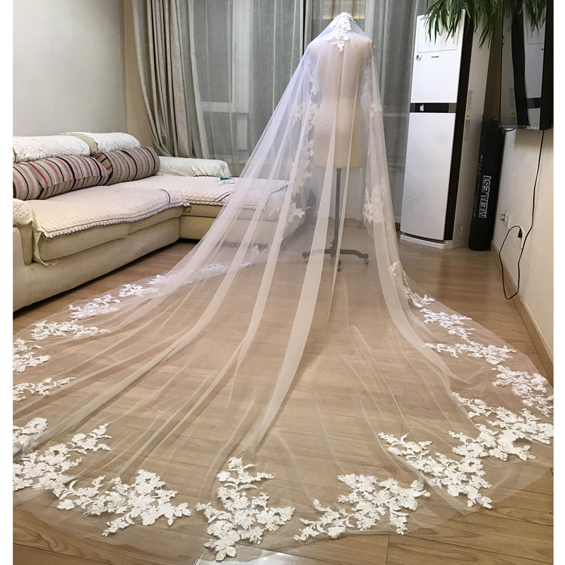 US $79 2 10% OFF|2019 Luxurious Styles No Combo Vintage Bridal Wedding  Accessories 3 x 3 Meters Bridal Veils Long Appliques Lace Wedding Veils-in
