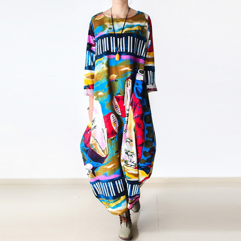 Johnature 2020 New Print Women Maxi Dress Cotton Linen Long 