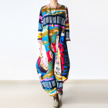 Johnature 2020 New Print Women Maxi Dress Cotton Linen Long Sleeve Robe O Neck Loose Plus Size Long Spring Loose Dress