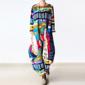 Image 1 - Johnature 2020 New Print Women Maxi Dress Cotton Linen Long Sleeve Robe O Neck Loose Plus Size Long Spring Loose Dress