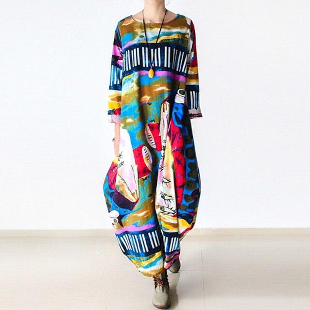 Johnature 2020 New Print Women Maxi Dress Cotton Linen Long Sleeve Robe O Neck Loose Plus Size Long Spring Loose Dress