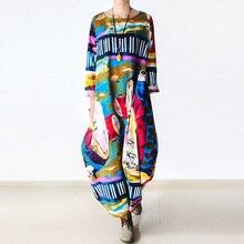 Johnature 2020 חדש הדפסת נשים מקסי שמלת כותנה פשתן ארוך שרוול גלימת O צוואר רופף בתוספת גודל ארוך אביב Loose שמלה