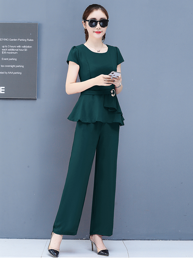 2019 Summer Chiffon 2 Two Piece Sets Outfits Women Plus Size Short Sleeve Tunics Tops And Pants Suits Office Elegant Korean Sets 62