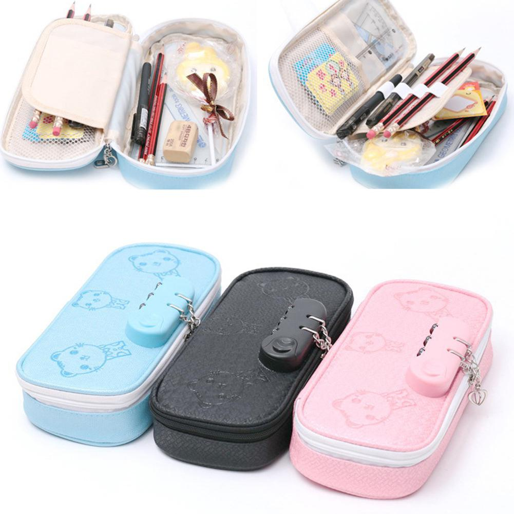 HobbyLane Pencil Bag Cute Cartoon Password Lock Writing Case Pencil Holder Pen Case Bag D20
