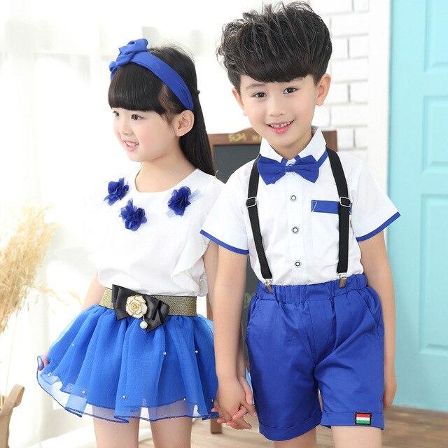 5dcc8029a 2016 الصيف الأطفال مدرسة موحدة الملابس أداء مجموعة بنات و الأولاد ملابس  مجموعات ملابس أطفال الروضة