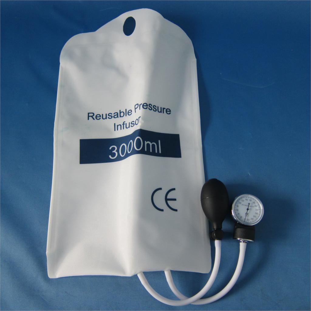Medical pressure Infusion bag 3000ml with gauge and bulbMedical pressure Infusion bag 3000ml with gauge and bulb