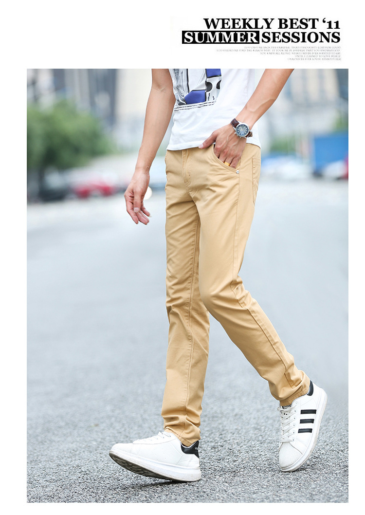 Business Casual Pants 11 Colors New Casual Pencil Pants Men Slim Pant Straight Trousers Solid Leisure Zipper Spring Summer k919 19