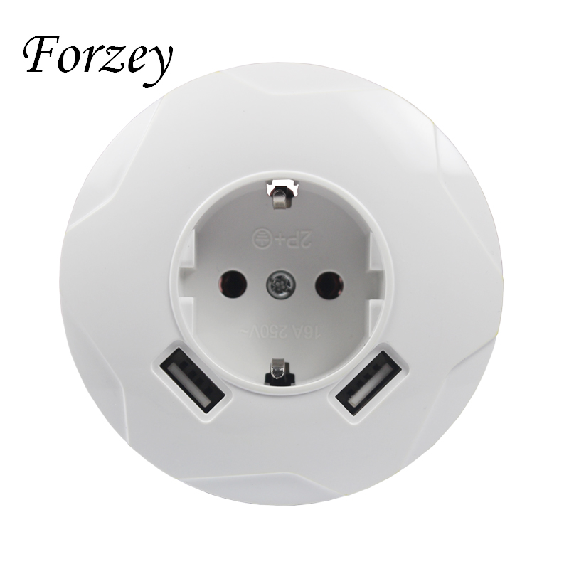 2019 new USB Wall Socket Round Free shipping Double USB Port 5V 2A Usb pared prise high quality usb murale steckdose F03