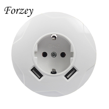 2019 new USB Wall Socket Round Free shipping  Double Port 5V 2A Usb pared prise high quality usb murale steckdose F03