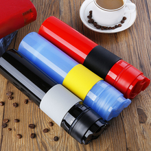 Portable French Press Coffe Bottle Plastic Outdoor Vacuum Coffee Plunger Filter Cup Travel Mug for 300ml