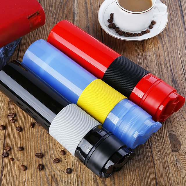 Portable French Press Coffe Bottle Plastic Outdoor Vacuum Coffee Plunger Filter Cup Travel Mug