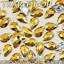 Boa qualidade! Ouro aurum 4x6mm 5x8mm unha arte lágrima gota resina cristal não hotfix flatback strass glitters para 3d pregos pedra
