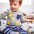 2016 New Autumn/Winter Children T-shirt 100%Cotton Print Yellow Star Kid Tops boys girls baby T shirts