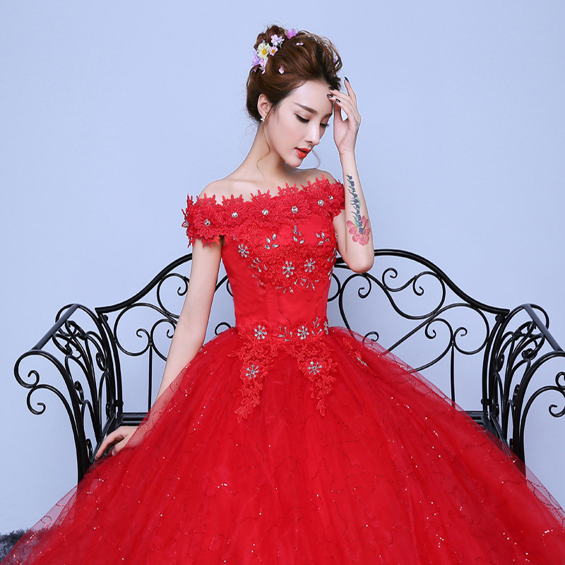 BEST SALE) Red Wedding Dress 2019 Gold Embroidery Long ...
