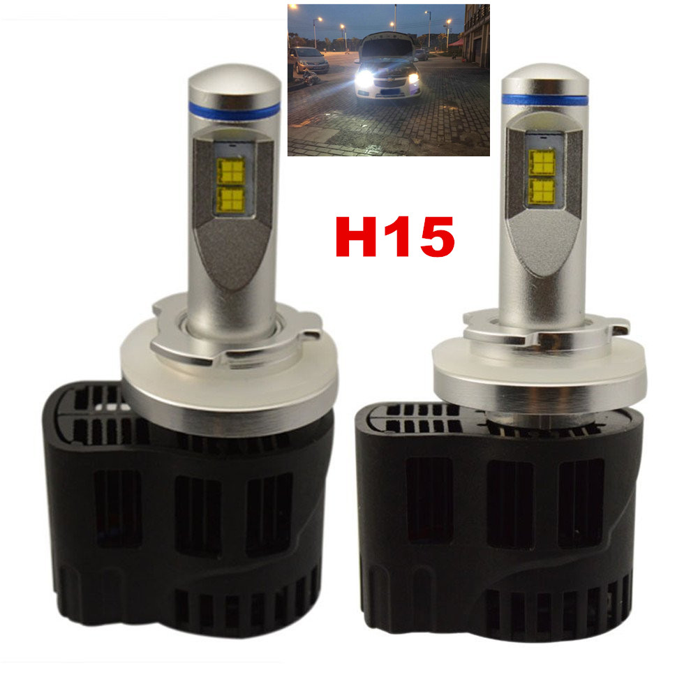 Super Bright LED Headlight Bulbs -Adjustable Focus Length Conversion Kit -H15 (High Beam / DRL) -110w 10,400Lm 6000K Cool White